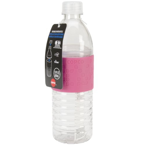 Copco Hydra Reusable Tritan Water Bottle with Spill Resistant Lid and Non-Slip Sleeve, 16.9-Ounce, Pink