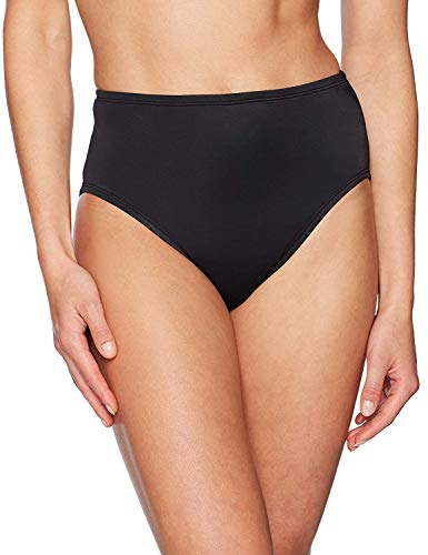 Amazon Brand - Coastal Blue Women's Control Swimwear Bikini Bottom, Black, XL (16-18)