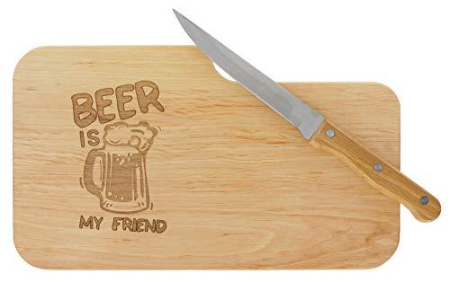 LASERHELD meinbecher Brotzeitbrett Jausenbrett Holz Erle Messer Beer is My Friend Geschenk Männer Schneidbrett Holz Geschenkidee für Ihn