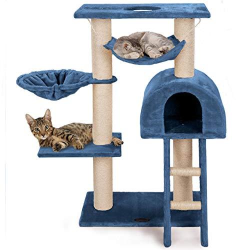 Happypet® Kratzbaum für Katzen klein 100 cm hoch, CAT018, platzsparender Kletterbaum Katzenbaum, extra Dicke und stabile Säulen mit Natur-Sisal ca. 9 cm, Liegemulde, Haus, Treppe, Hängematte, BLAU