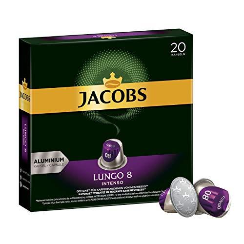 Jacobs Kaffeekapseln Lungo Intenso, Intensität 8 von 12, 20 Nespresso®* kompatible Kapseln für 20 Getränke