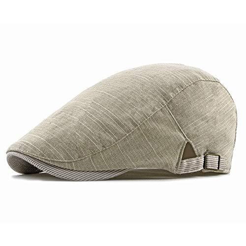 Zhangl Mask Hat Delgada Retro Estilo británico Pantalla abatible de algodón de Lino de la Boina Mask Hat (Color : Beige)