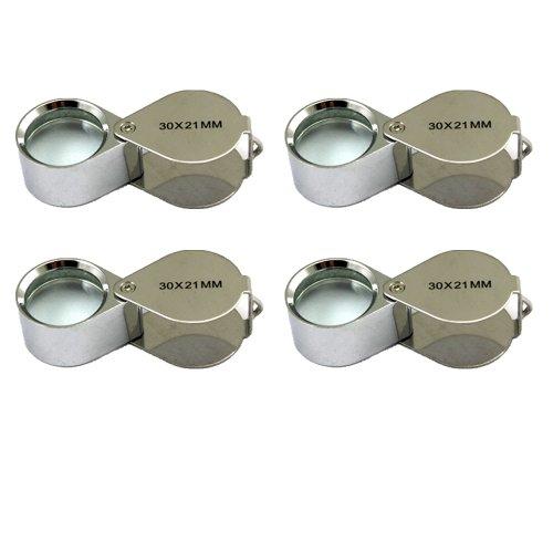 4 Pcs Mini 30X 21mm Jeweler Jeweler's Jewelry Loupe Magnifier Magnifying Glass Silver w/ Box