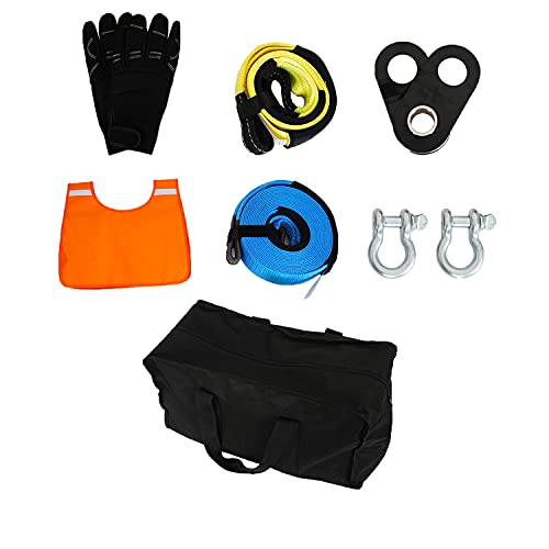 V8 GOD Vehicle Recovery Kit Snatch Block+ Recovery Tow Strap+ Tree Trunk Protector+Winch Line Dampener+2 Pcs D-Ring Shackles+Gloves+ Storage Bag