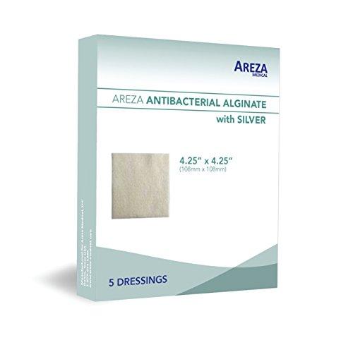 "Silver Alginate (Antibacterial Alginate with Silver) 4.25""x4.25"" Sterile; 5 Wound Dressings Per Box (1) (4.25"" X 4.25"") (1) Areza Medical"