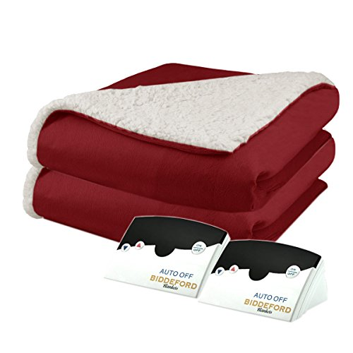 Pure Warmth by Biddeford Micro Mink and Sherpa Electric Heated Blanket King Brick