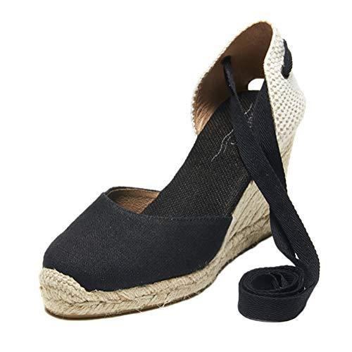 Tomwell Sandales Femmes Mode Espadrille Lanière Sandals Talon Compensé Plateforme Été Casual Romaines Sandals Doux A Noir 37 EU
