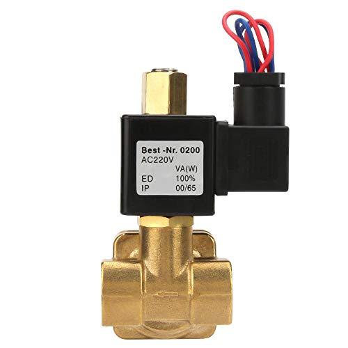 Válvula solenoide eléctrica de latón G1 / 2in, válvula de rosca de repuesto normalmente cerrada de agua de acción directa para agua y aire 0-1.6Mpa(AC220V)