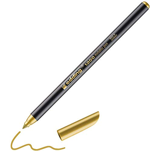 Edding Metallic Viltstiften, 4-1200053, 1-3 mm, Goud/Zwart