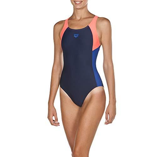 ARENA Damen Sport Badeanzug Ren, Navy-Shiny pink-Royal, 42