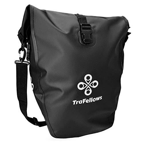 TraFellows Premium-Fahrradtasche für den Gepäckträger • Große Rad-Tasche mit abnehmbarem Schultergurt für Damen und Herren • Wasserfeste Gepäckträger-Tasche mit Reflektorschrift (Einzel)