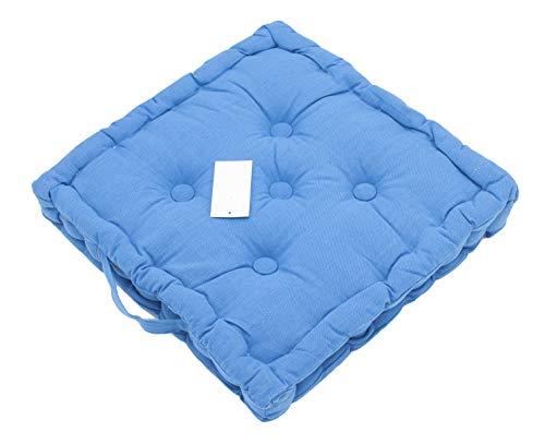 LEYENDAS Set de 4 Cojines, Cojines para Silla de 40 x 40 x 8 cm para Interior y Exterior de 100% algodón cojín Acolchado/cojín para el Suelo (Azul, 1)