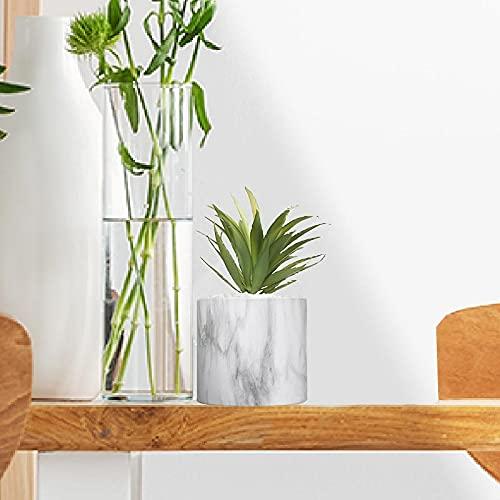 Plante Grasse Artificielle 18cm avec Pot marbre