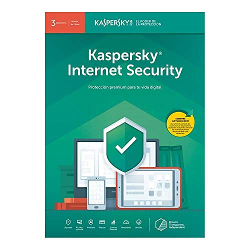 Kaspersky Internet Security 2019 Software, 3 Devices, 1-Year License, Key Card Code