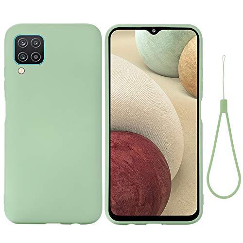 Botongda Funda Samsung Galaxy A12 5G,Funda de Silicona Suave Funda de Silicona Anti-caída y anticolisión,Carcasa Suave al Tacto con Forro de Microfibra para Samsung Galaxy A12 5G-Verde