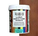 Pintura lasur para maderas, tratamiento para exterior e interior, fácil aplicación y limpieza gracias a su base al agua, acción protectora a largo tiempo, 14 colores (0,75 L, Nogal)