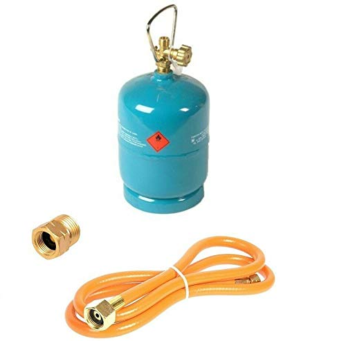 Leere befüllbare Gasflasche 1 kg / 2,4L Camping Grill Boot Propan Butan Gas + 1,5m Umfüllschlauch + Adapter