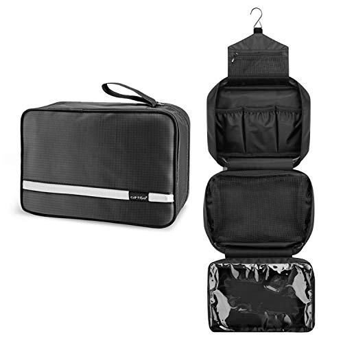 Beauty Case da Viaggio, Carttiya Borsa da Toilette per Donna Uomo Beauty Case Grande Impermeabile, Gancio in Metallo per Appendere, Nero