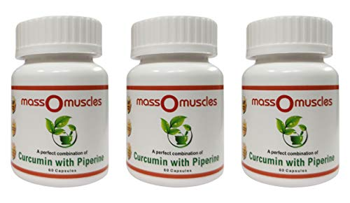 Massomuscles® Curcumin (95%) Extract with Piperine(5%) Organic Turmeric Capsules 60 Non-GMO & Gluten Free (Pack of 3)