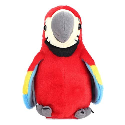 Biitfuu Der elektrische sprechende Papageien-Plüsch-Vogel wiederholt, was Sie Karikatur-nettes solides Spielzeug-Aufnahme-pädagogisches Kinderspielzeug Sagen(rot)