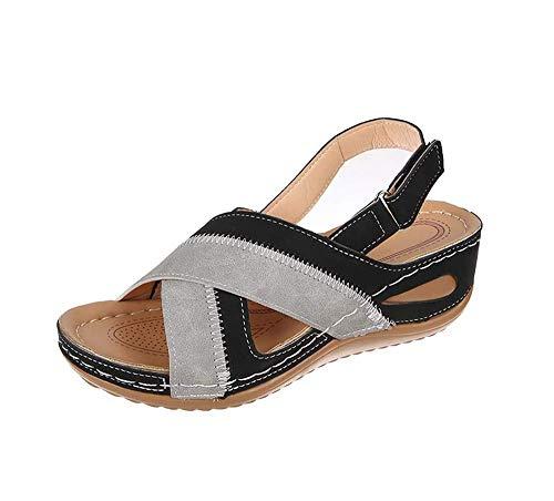 JFFFFWI Sandalias de Plataforma para Mujer Sandalias de Gamuza de cuña de Verano para Mujer Hebilla Correa de Tobillo Zapatos de Plataforma Plana con Punta Abierta Zapatos de Playa cómodos con Punta