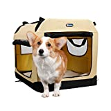 Veehoo Folding Soft Dog Crate, 3-Door Pet Kennel for Crate-Training Dogs, 5 x Heavy-Weight Mesh...