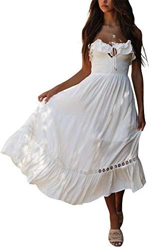 BOCOTUBE Women's Summer Sleeveless Strapless Ruffle Off The Shoulder Swing Cocktail Party Dress White