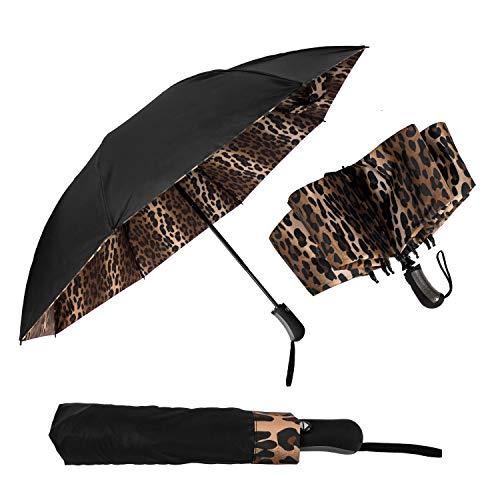 StrombergBrand Reversible Leopard Umbrella (Inverted Folding Umbrella Leopard Print) Compact Automatic Open and Close Folding Umbrellas For Women, Leopard Mini Umbrella, Upside Down Windproof Umbrella