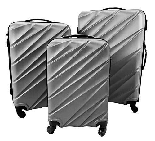 Tris valigie rigide nera set 3 trolley con 4 ruote autonome bagaglio a mano (Argento)