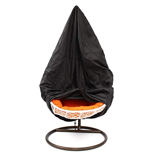 DHTOMC Baldakijn schommels buitenterras hangstoel stofdichte afdekking wikkelaar egg verandaschommel heavy duty waterdicht bescherming zwart voor tuin patio outdoor seater