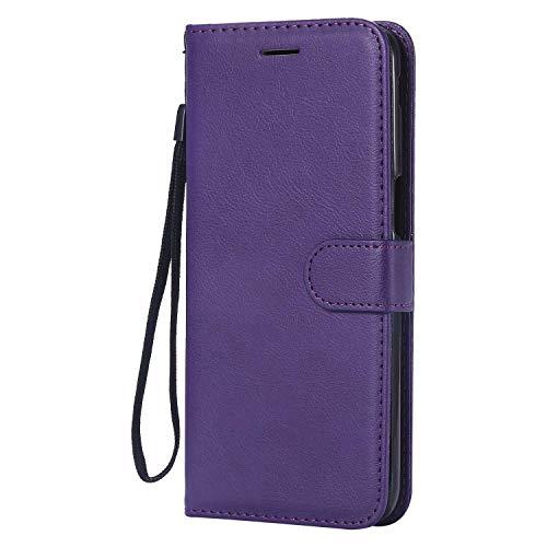 DENDICO Funda Galaxy J6 Plus 2018, Premium Cartera PU Funda de piel, Flip Libro TPU Bumper Caso para Samsung Galaxy J6 Plus 2018 - Morado