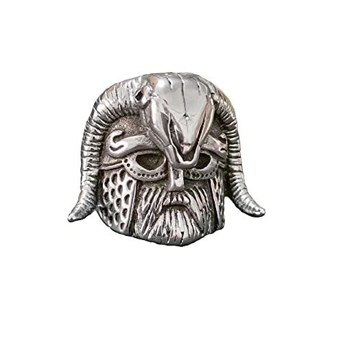 VUJK Vintage nórdico anillo acero inoxidable vikingo Shofar cuerno casco calavera hombres anillos geniales anillos joyería motociclista 10