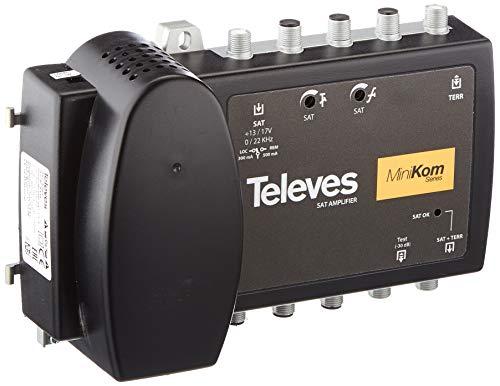 Televes 5363 - Amplificador Multibanda de 2 Entradas (VHF / UHF-SAT) para Sistemas SMATV 2150 mHz, Amplifica la Banda SAT y la Mezcla con la Banda Terrestre (VHF / UHF)