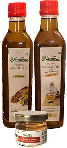 Virgin Mustard Oil And Black Sesame Seed (Gingelly) Oil - 415 ML each (Pack Of 2) - Certified