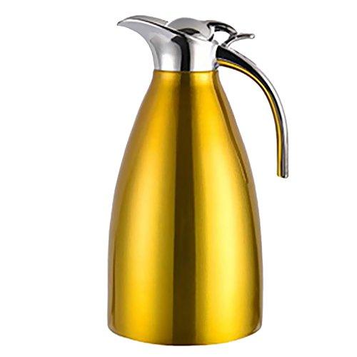 perfk Botella de Acero Inoxidable con Aislamiento Al Vacío Doble, Cafetera, Agua Fría Y Caliente para El Hogar - Amarillo, Diámetro de la Base: 14.5cm Altura Total: los 24cm