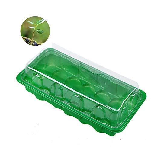 POOPFIY 2 Piezas de plástico Semilla de Plantas de semillero bandejas Clonación Caja del Kit Grow Box Humedad Dome Base Nursery Pots