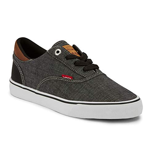 Levi's Mens Ethan Chm WX Classic Chambray Sneaker Shoe, Black/Tan, 9 M