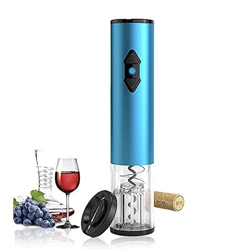 HFFSGS Abridor de vinos eléctricos, Acero Inoxidable Botella automática Sacacorchos de sacacorchos Kit con Cortador de lámina, operado por batería (Azul)