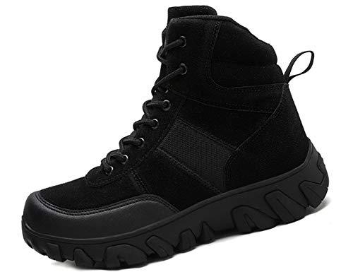 IYVW A02 Hombre Botas de Senderismo Botas de Caza Botas Militar de Combate Zapatos de Trekking Botas Tácticas Transpirables Negro 42 EU