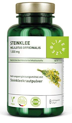 LifeWize® Steinklee Kapseln - Echter Gelber Steinklee - melilotus officinalis - 60 Kapseln je 500 mg Steinkleekraut - Vegan und ohne Zusatzstoffe