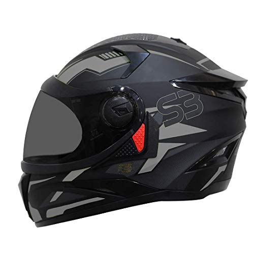 Steelbird SBH-17 Terminator Full Face Graphic Helmet (Large 600 MM, Matt Black Grey Helmet Fitted with Clear Visor and Extra Smoke...