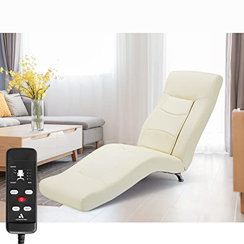 MELLCOM Electric Massage Recliner Chair Chaise Longue Artificial Leather Ergonomic Lounge Massage Recliner,Massage Chair with Kneading,Hammer,Vibrating Massage,Heating,Remote Control,White