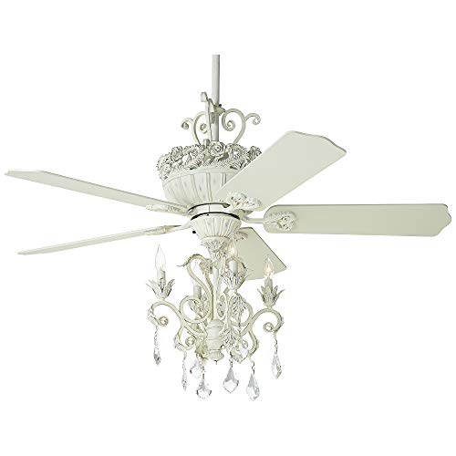 """52"""" Casa Vintage Shabby Chic Ceiling Fan with Light Kit LED Crystal Chandelier Rubbed White for Living Room Kitchen Bedroom Family Dining - Casa Vieja"""