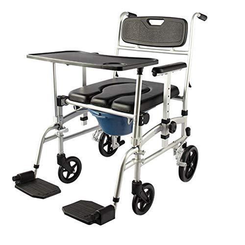 SUYUDD Toilettenstuhl Mit Rollen Auch Zum Duschen, WC-Stuhl oder Toilettenstuhl für Behinderte, Behinderte, Senioren Einfacher Seitentransfer