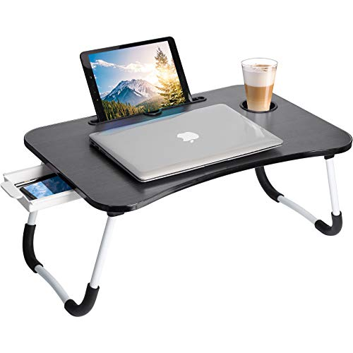 Lap Desk, Laptop Bed Tray Table, Portable Foldable Laptop Stand Desk with Storage Drawer Cup Holder for Working, Writing, Gaming & Eating(Black)