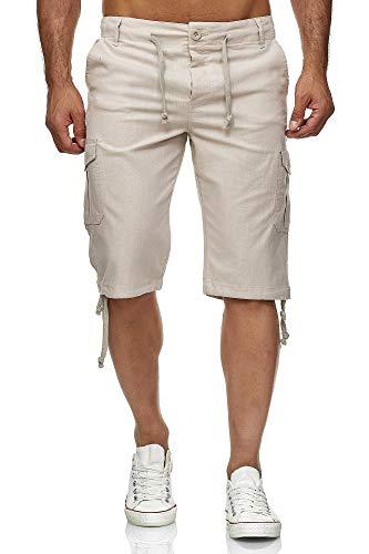 Reslad Leinen Cargo Shorts Männer Strandhose Herren Leinenhose 3/4 Hose Freizeit Kurze Hosen Sommer Bermudas RS-3001 Beige M