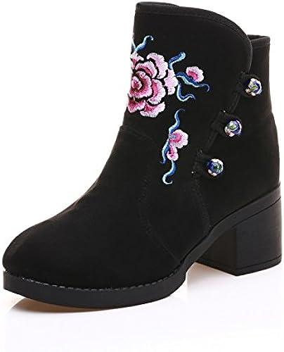 GTVERNH-des bottes à talons haut chaussures bottes avec style folklorique du coton brodé à bottes et épais vêtements chaussures
