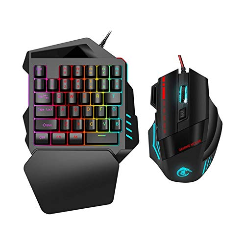 XTZJ Combo de teclado y ratón de un jugador de mano, llaves...