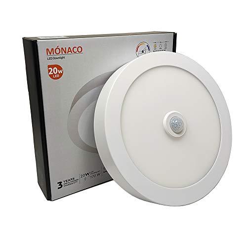 FactorLED Plafón LED Techo con Sensor de Movimiento Circular 20W, Panel Superficie Redondo con Detector de Presencia, OSRAM...