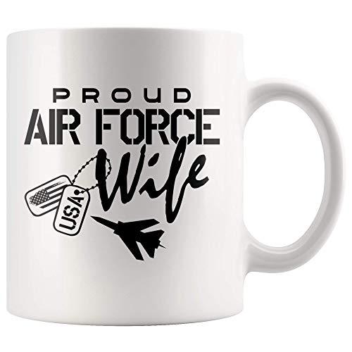 Proud Air Force Wife Pride Military Mug, Air Force Wife Coffee Mug Gift, Wife Life Love My Airman Dog Tag Teacup 11oz